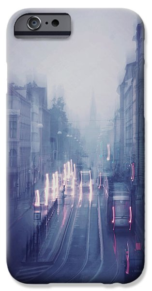 Blue Fog Over Rainy City IPhone Case by Jenny Rainbow