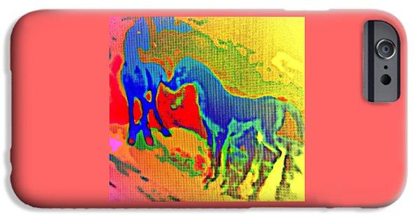 Blue Horses Having A Date  IPhone Case by Hilde Widerberg