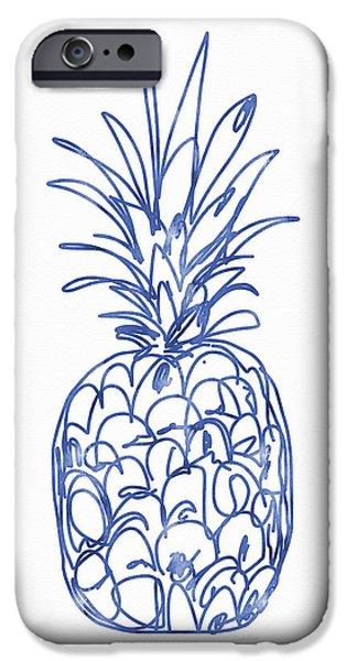Blue Pineapple- Art By Linda Woods IPhone Case by Linda Woods