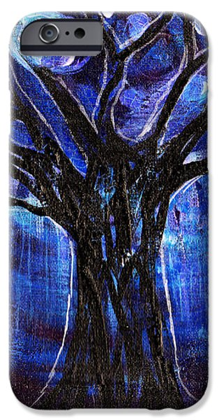 Blue Tree At Night IPhone Case by Genevieve Esson