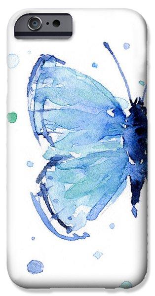 Blue Watercolor Butterfly IPhone 6s Case by Olga Shvartsur