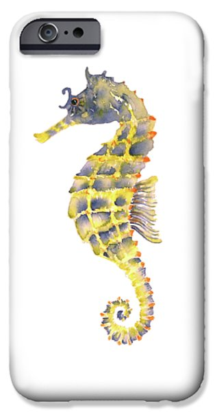 Blue Yellow Seahorse - Square IPhone 6s Case by Amy Kirkpatrick