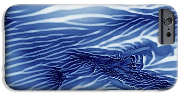 Blue And White Serenity Sea Monoprint Panoramic IPhone Case by Amy Vangsgard