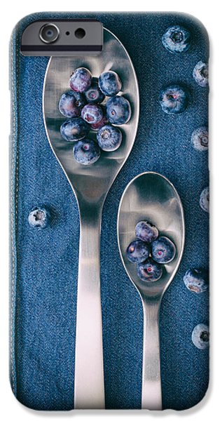 Blueberries On Denim I IPhone Case by Tom Mc Nemar