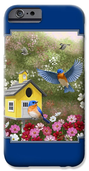 Bluebirds And Yellow Birdhouse IPhone 6s Case by Crista Forest