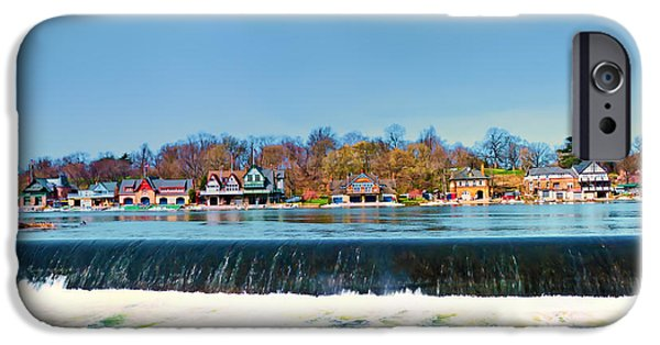 Boat House Row From Fairmount Dam IPhone Case by Bill Cannon