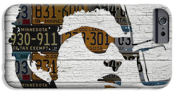 Bob Dylan Minnesota Native Recycled Vintage License Plate Portrait On White Wood IPhone 6s Case by Design Turnpike