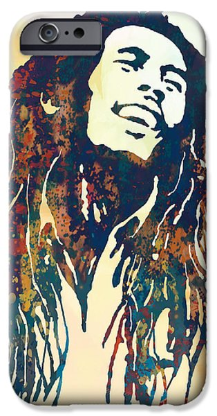 Bob Marley Art Stylised Pop Poser IPhone Case by Kim Wang