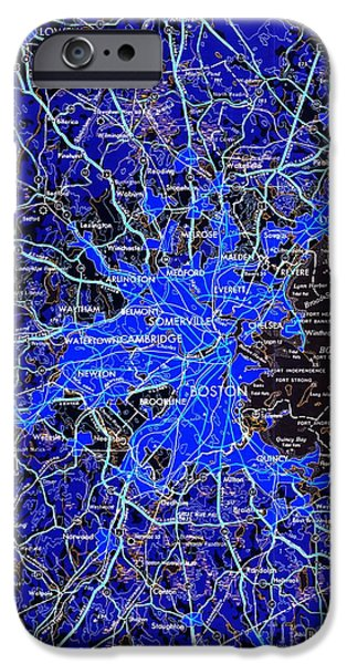 Boston Massachusetts 1948 Blue Map IPhone Case by Pablo Franchi