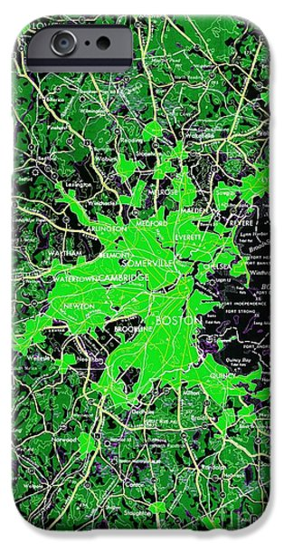 Boston Massachusetts 1948 Green Map IPhone Case by Pablo Franchi