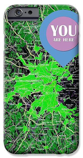 Boston Massachusetts 1948 Green Map You Are Here IPhone Case by Pablo Franchi