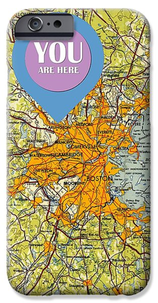 Boston Massachusetts 1948 Old Map You Are Here IPhone Case by Pablo Franchi