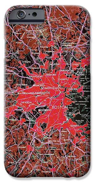 Boston Massachusetts 1948 Red Old Map IPhone Case by Pablo Franchi