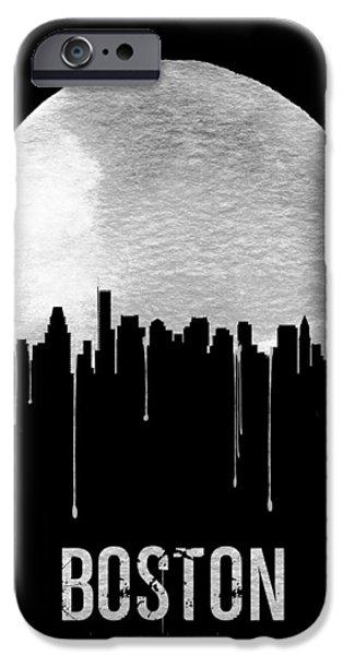 Boston Skyline Black IPhone Case by Naxart Studio