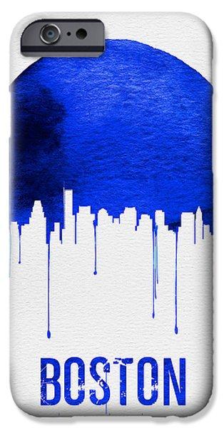Boston Skyline Blue IPhone Case by Naxart Studio
