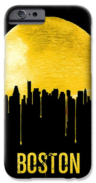 Boston Skyline Yellow IPhone Case by Naxart Studio