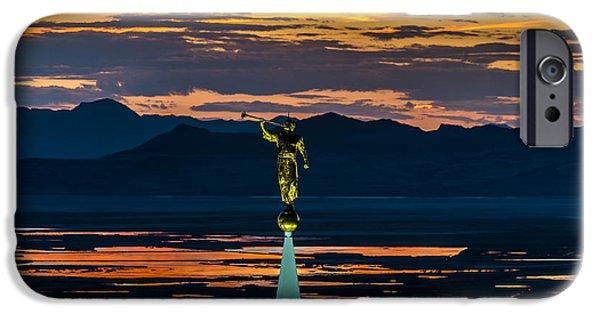 Bountiful Sunset - Moroni Statue - Utah IPhone Case by Gary Whitton