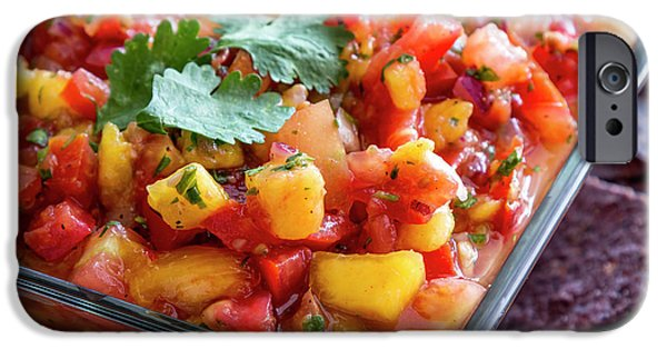Bowl Of Peach Salsa IPhone Case by Teri Virbickis
