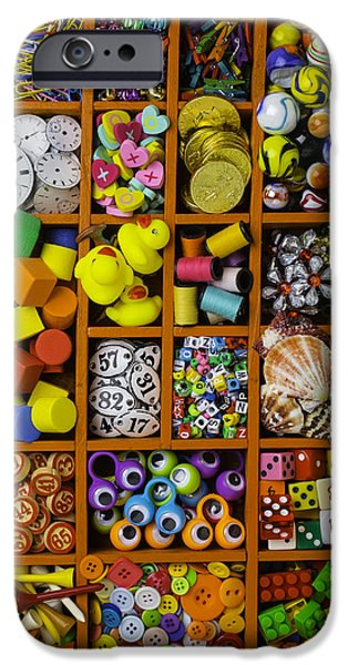 Box Full Of Colorful Objects IPhone Case by Garry Gay