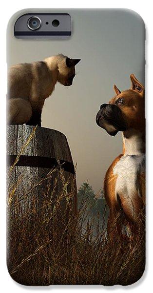 Boxer And Siamese IPhone Case by Daniel Eskridge