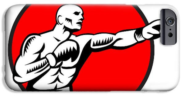 Boxer Jabbing Punching Circle Woodcut IPhone Case by Aloysius Patrimonio