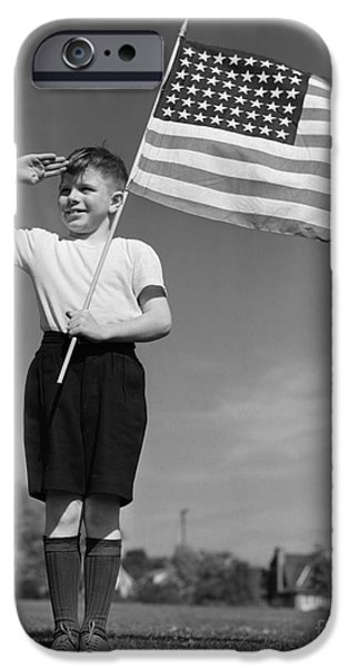 Boy Holding American Flag & Saluting IPhone Case by H. Armstrong Roberts/ClassicStock