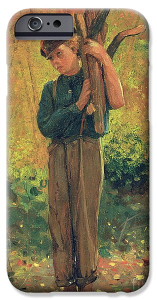 Boy Holding Logs IPhone Case by Winslow Homer