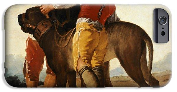 Boys With Mastiff IPhone Case by Goya