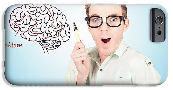 Brain Businessman With Creative Idea Illustration IPhone Case by Jorgo Photography - Wall Art Gallery