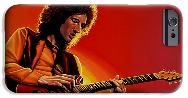 Brian May Of Queen Painting IPhone Case by Paul Meijering