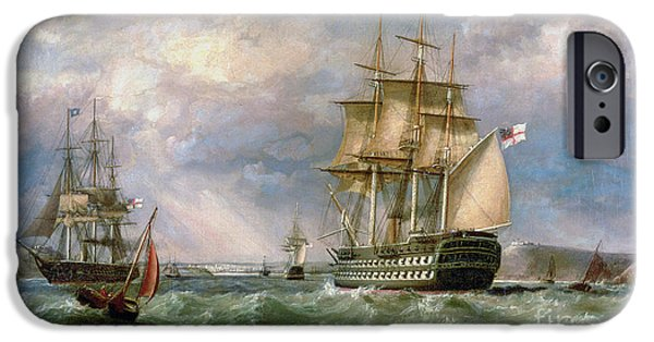 British Men-o'-war Sailing Into Cork Harbour  IPhone Case by George Mounsey Wheatley Atkinson