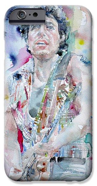 Bruce Springsteen - Watercolor Portrait.5 IPhone Case by Fabrizio Cassetta