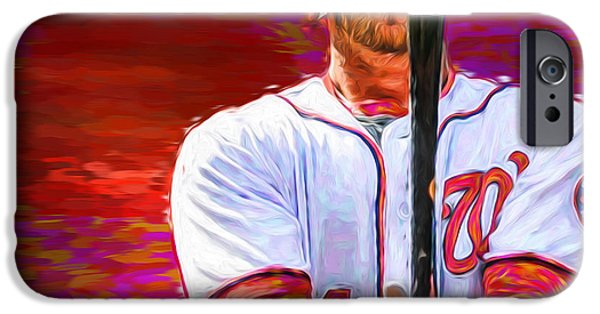 Bryce Harper Mlb Washington Nationals Baseball Painted Digitally IPhone Case by David Haskett