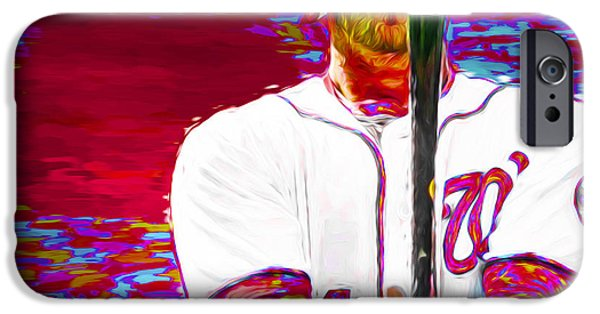 Bryce Harper Washington Nationals Mlb Baseball Painting Digital IPhone Case by David Haskett