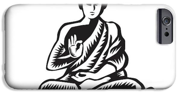 Buddha Lotus Pose Woodcut IPhone Case by Aloysius Patrimonio