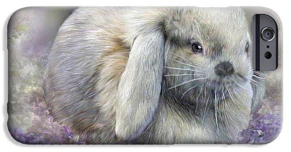 Bunny In Easter Lilacs IPhone Case by Carol Cavalaris