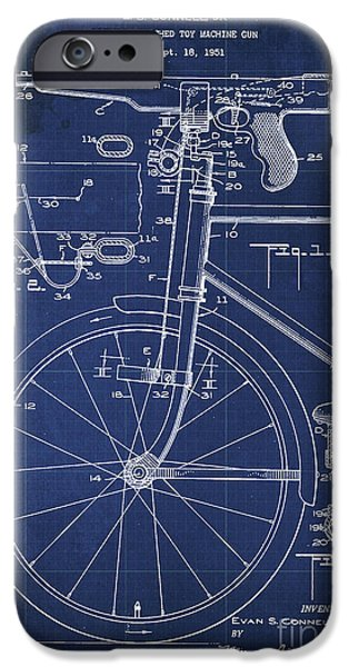 Bycicle Attached Toy Machine Gun Patent Blueprint, Year 1951 Blue Vintage Art IPhone Case by Pablo Franchi