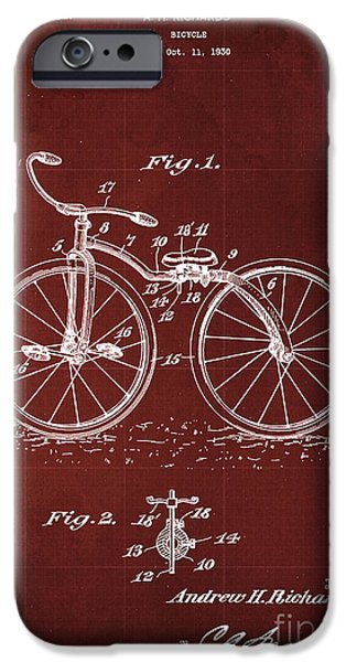 Bycicle Patent Blueprint Year 1930 Red Vintage Poster IPhone Case by Pablo Franchi