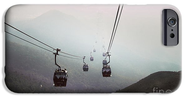 Cableway Over The Hills In Hong Kong IPhone Case by Remioni Art