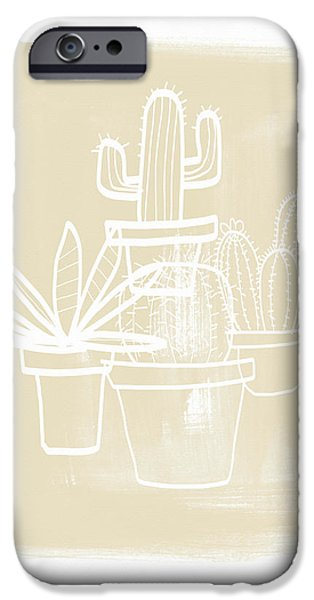 Cactus In Pots- Art By Linda Woods IPhone Case by Linda Woods