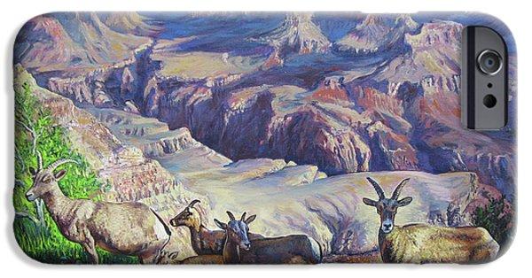 Canyon Goats On A Morning Walk IPhone Case by Matthew Pinkey