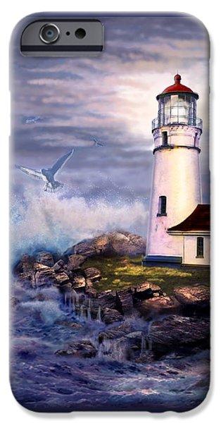 Cape Blanco  Lighthouse On Rocky Shores IPhone Case by Regina Femrite