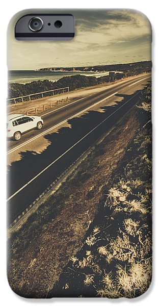 Car Travelling The Great Ocean Road IPhone Case by Jorgo Photography - Wall Art Gallery