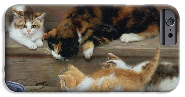 Cat And Kittens Chasing A Mouse   IPhone 6s Case by Rosa Jameson