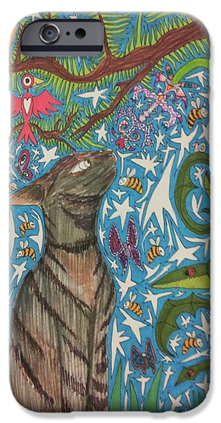 Cat Smelling A Flower 6 IPhone Case by William Douglas