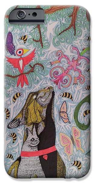 Cat Smelling Flower 2 IPhone Case by William Douglas