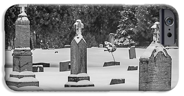 Cemetery In Snow IPhone Case by Joan Carroll