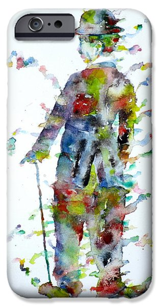 Charlie Chaplin - Watercolor Portrait.3 IPhone Case by Fabrizio Cassetta