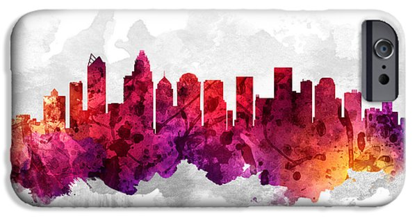 Charlotte North Carolina Cityscape 14 IPhone Case by Aged Pixel