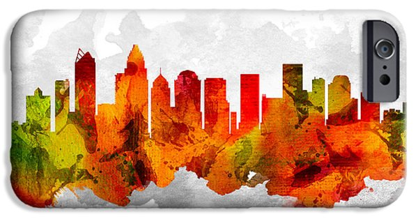 Charlotte North Carolina Cityscape 15 IPhone Case by Aged Pixel